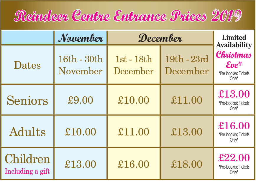 Reindeer Centre Entrace Prices 2018
