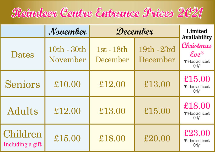 Reindeer Centre Entrace Prices 2019